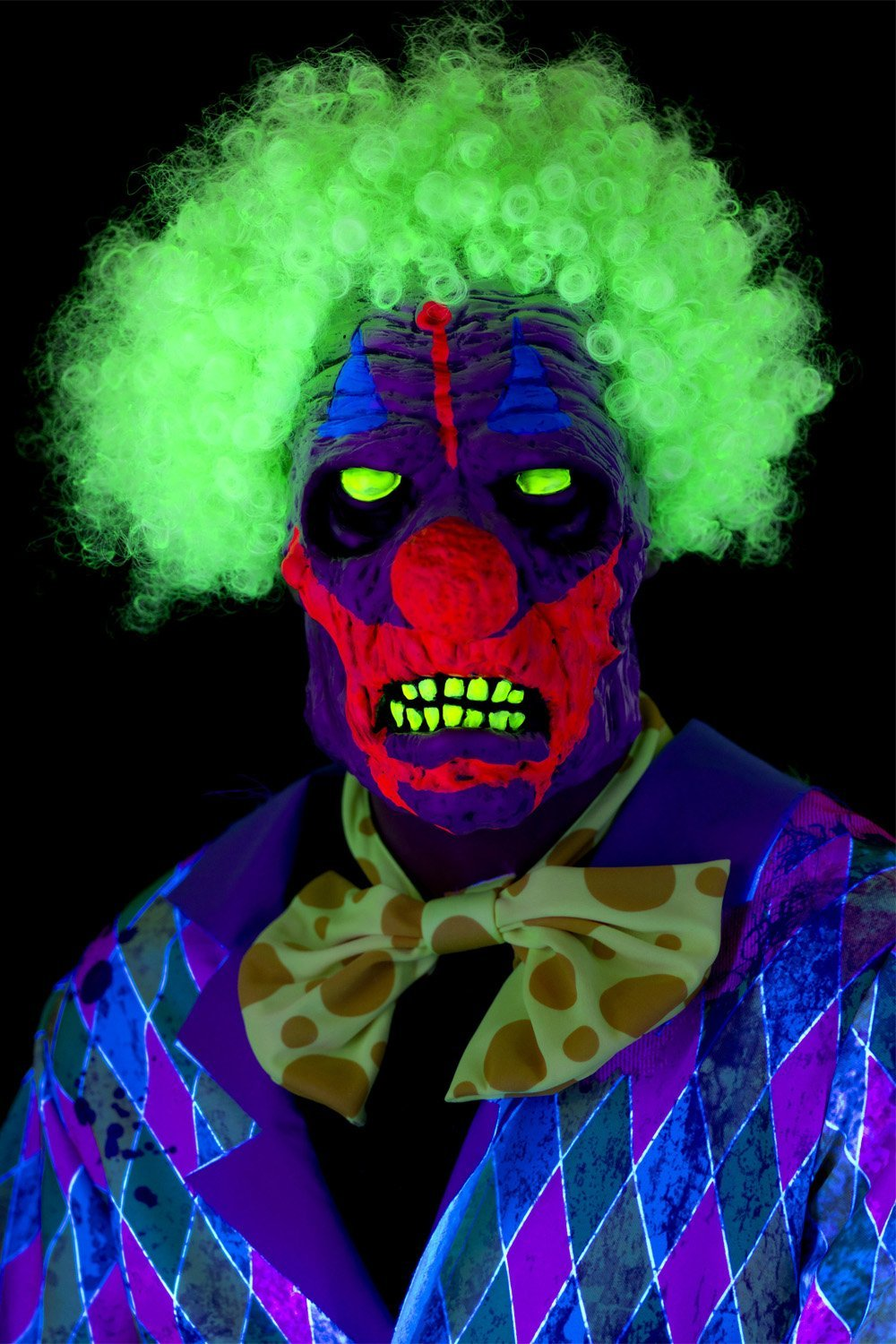 UV Black Light Clown Mask with green hair 46829