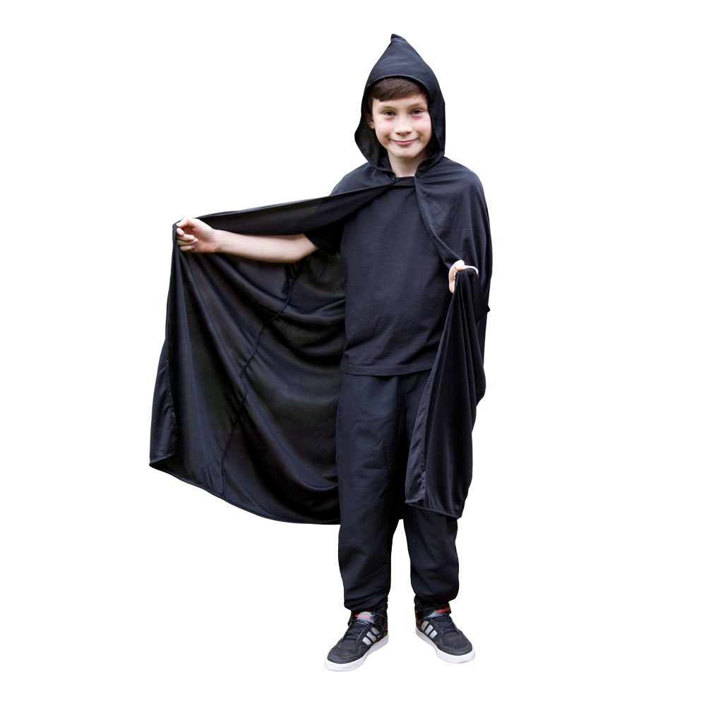 Kids black hooded cape ac9025