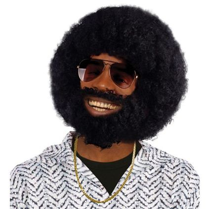 Black afro wig and facial hair, BW749