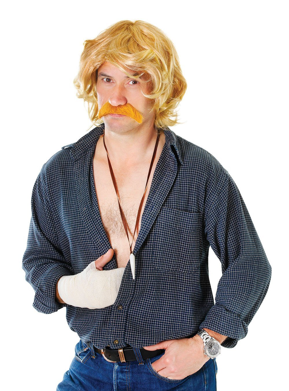Celebrity Blonde Moustache and Wig bw789