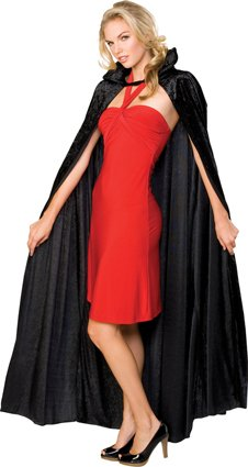 Black Long crushed velour cape with collar adult 1