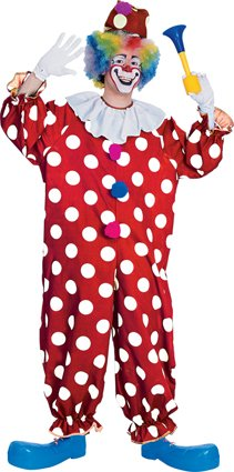 Red and white dotted clown adult 55052