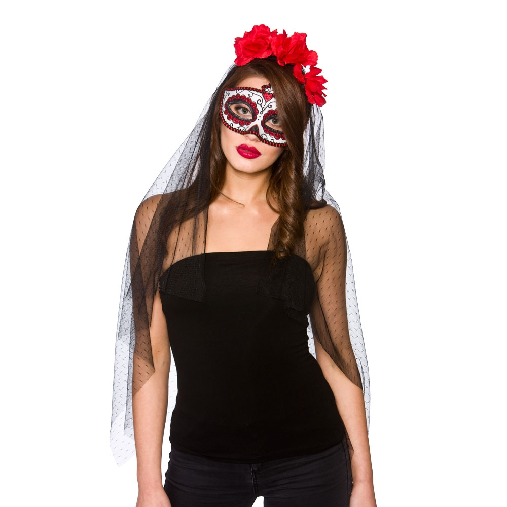 Day of the Dead mask and veil mk9923