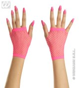 Pink neon fingerless gloves (short)