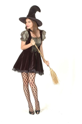 Green/ black witch costume adult  AC710