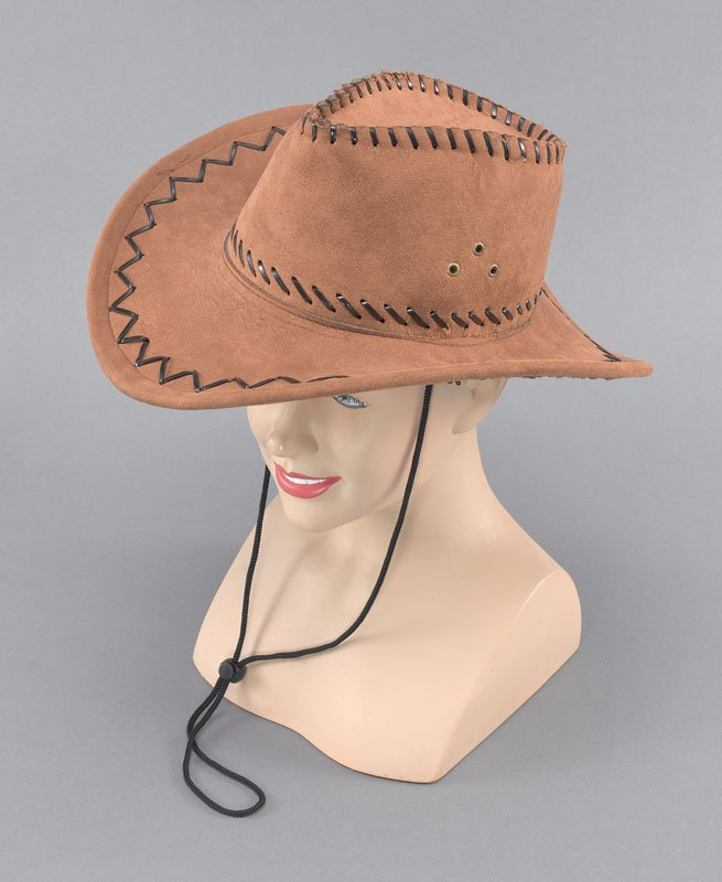 Leather beige cowboy hat with brown stitching BH42