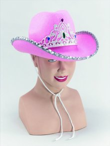 Pink felt cowboy hat with tiara BH369