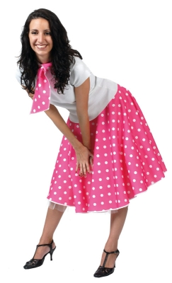 50's Polka dot skirt pink AC49