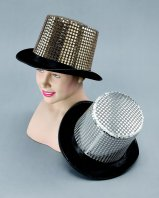 Felt top hat with silver sequins BH383