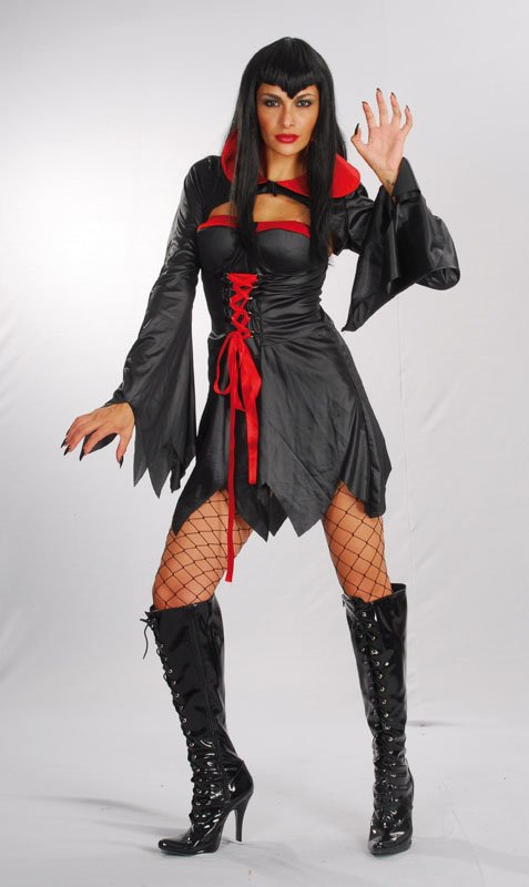 Adult Vampiress costume  Ac772 (short, red/ blk)